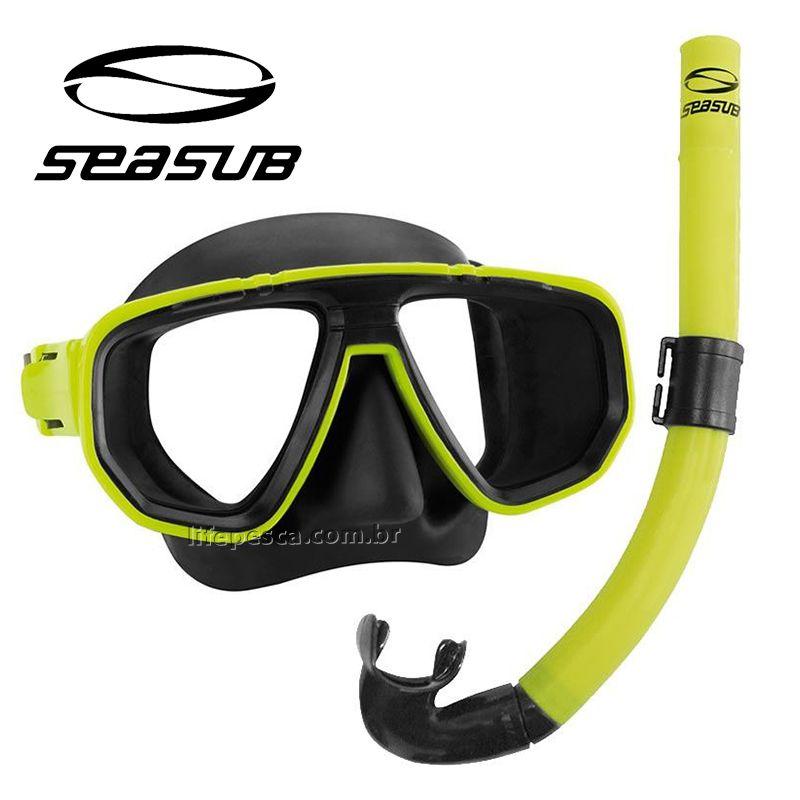 Kit Mergulho Dua Máscara e Respirador Snorkel Seasub - Várias Cores