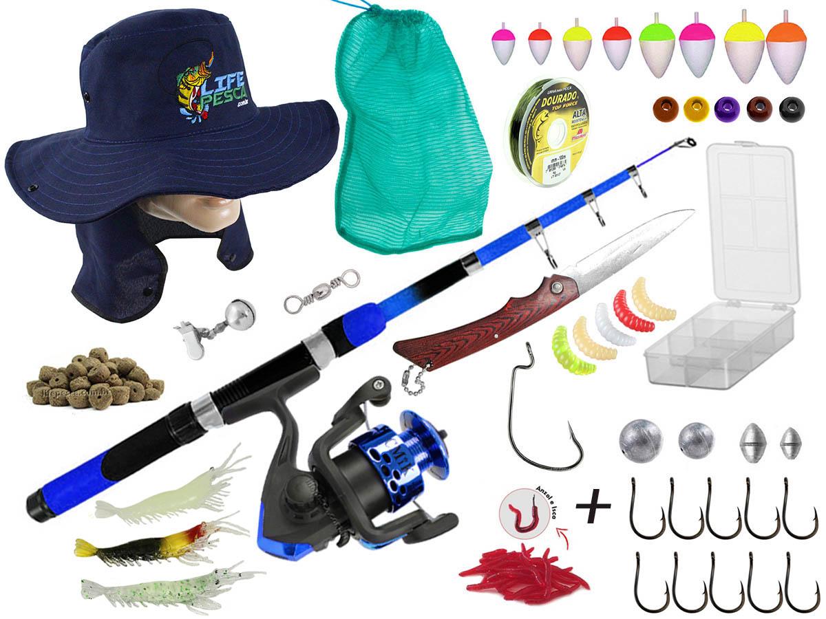Kit Para Pesca 1 Vara Telescópica 1,70m + 1 Molinete e Acessórios (Ref. 54)