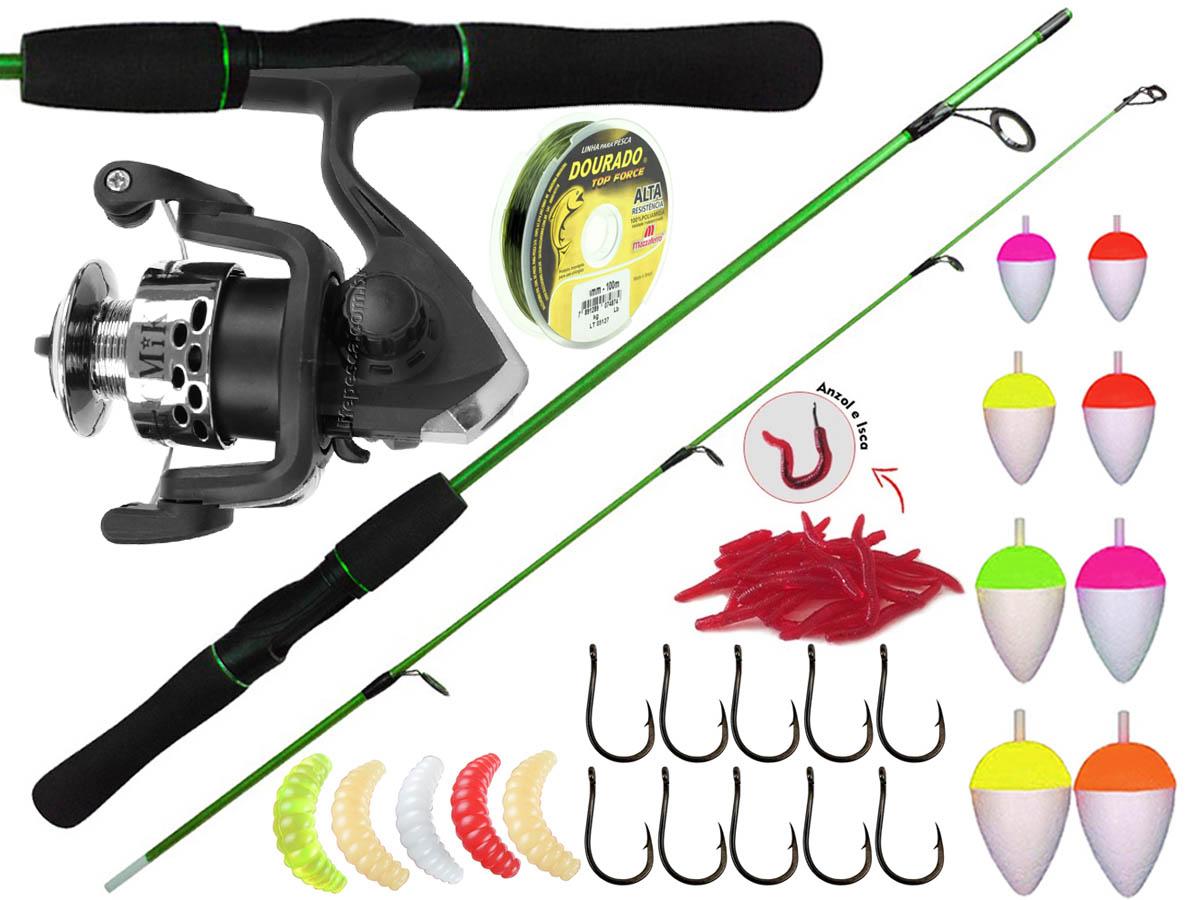 Kit Para Pesca 1 Vara Para Molinete 1,20m + 1 Molinetes + Acessórios (Ref. 60)