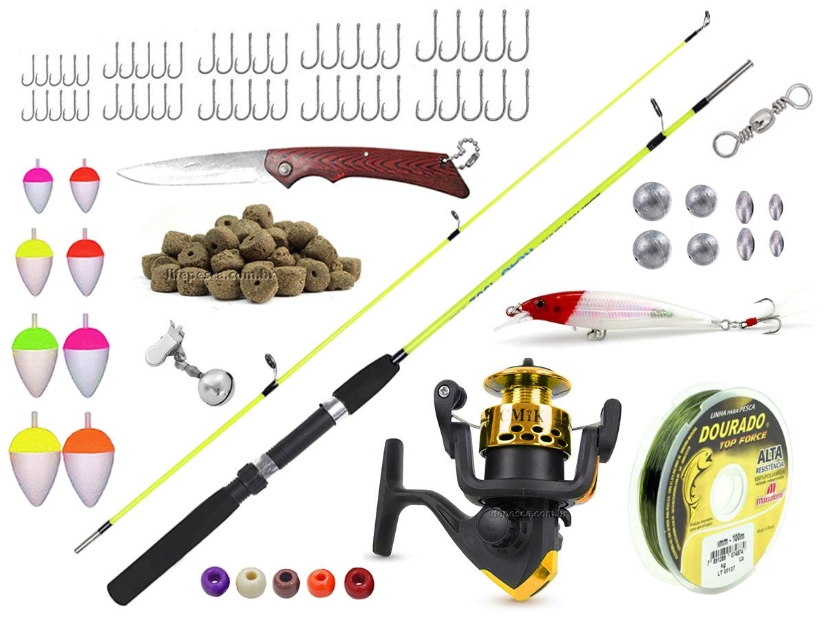 Kit Para Pesca C/ Vara 1,35m (2 Partes) + 1 Molinete + Acessórios (Ref. 40)