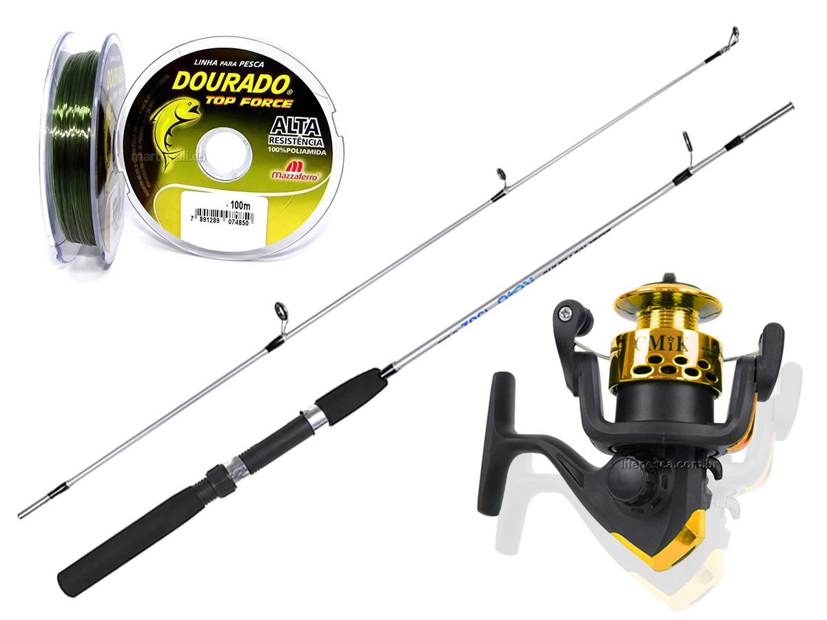 Kit Para Pesca C/ Vara 1,35m (2 Partes) + Molinete (Ref. 46)