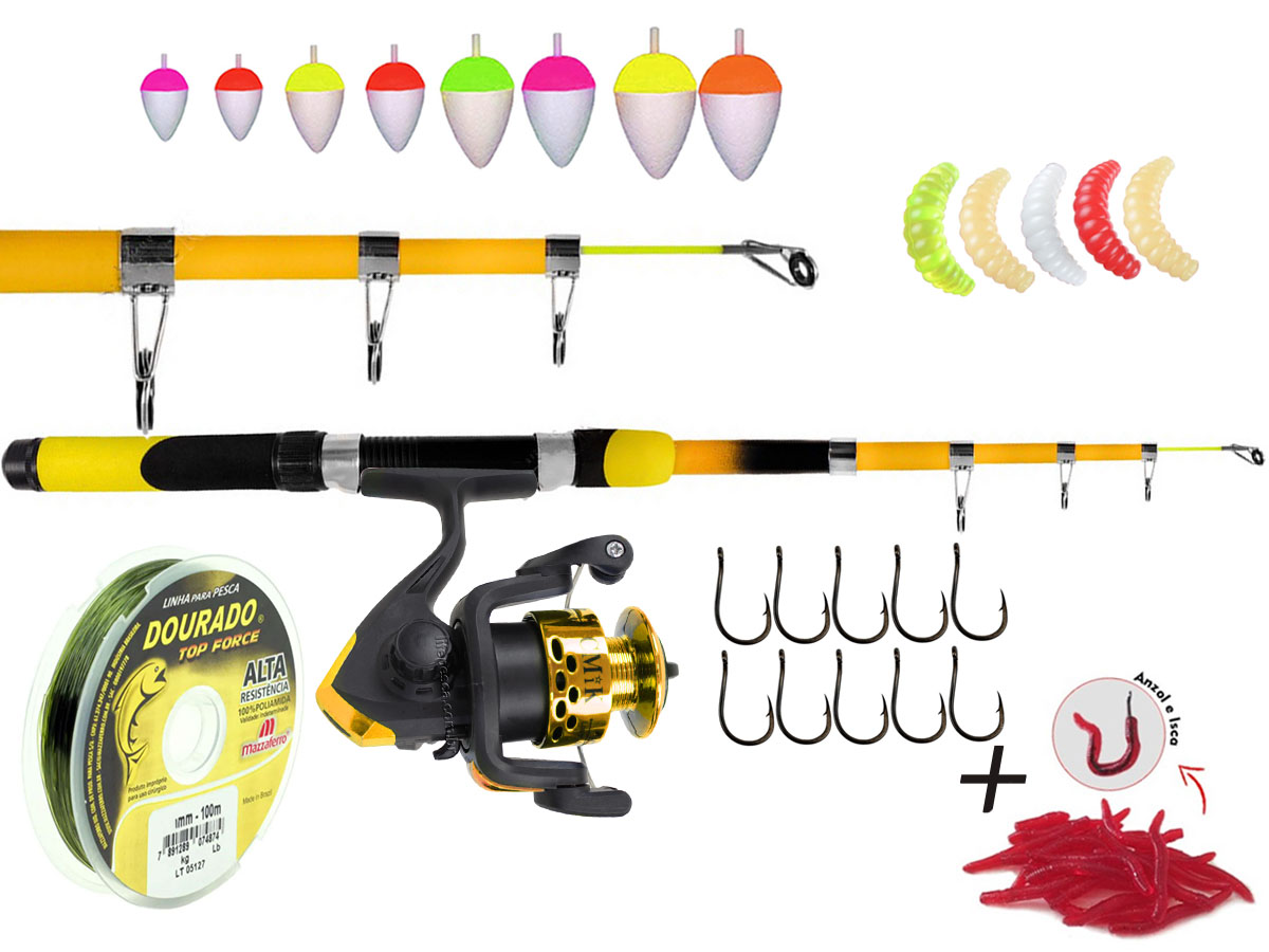 Kit Para pesca C/ Vara Telescópica 1,70m + Molinete e Acessórios (Ref. 50)