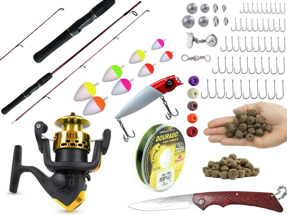 Kit para Pesca Completo 1 Vara 1,20m + 1 Molinete + Acessórios (Ref. 30)