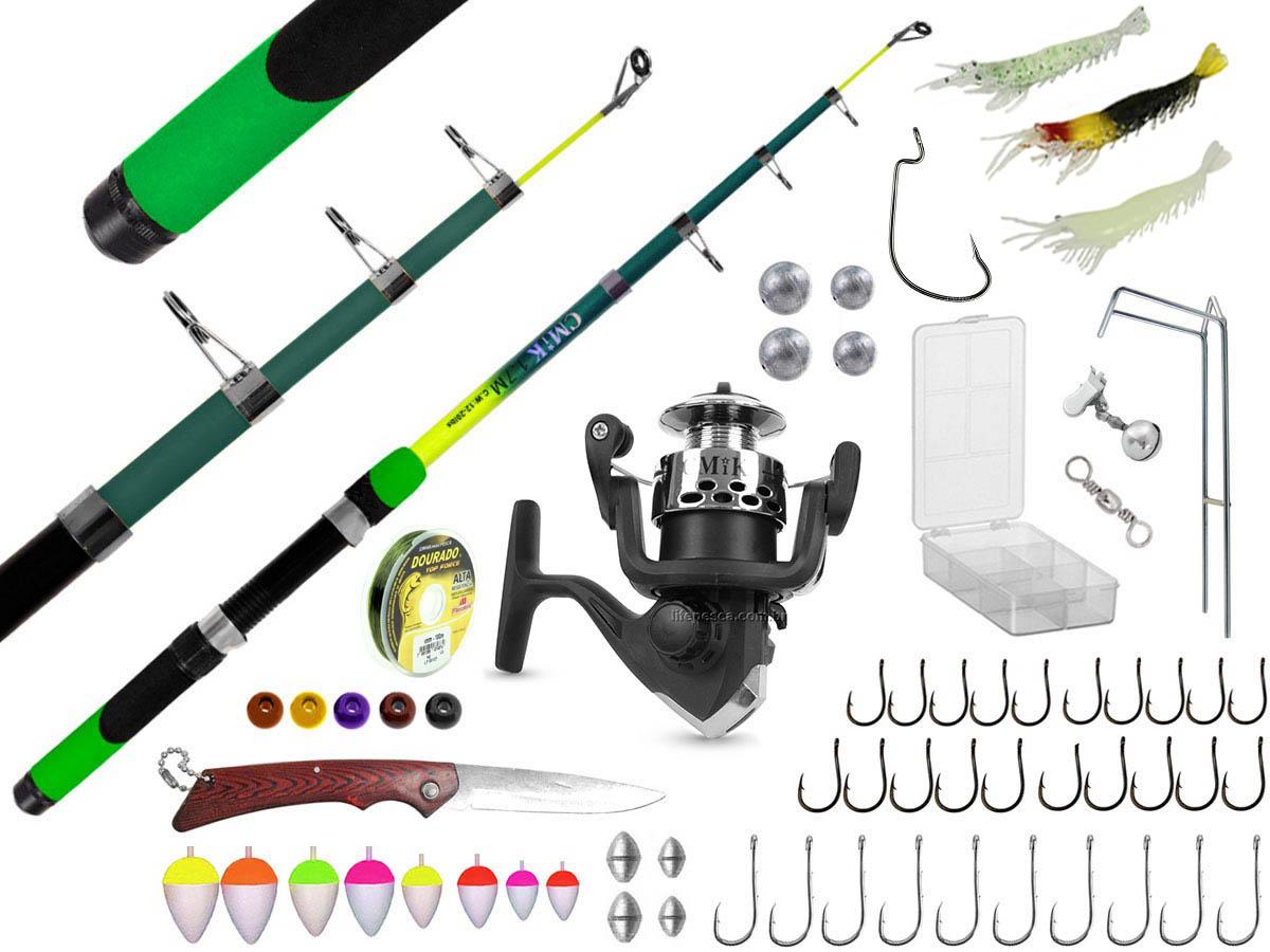 Kit Para Pesca Vara Telescópica 1,70m + Molinete + Acessórios (Ref. 58)