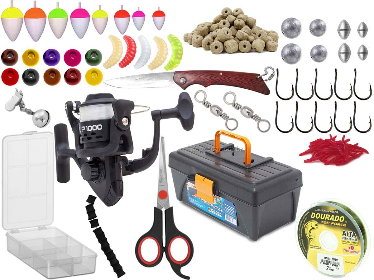 Kit Para Pescador c/ 1 Caixa + 1 Molinete + Estojo e Acessórios  (Ref. 106)