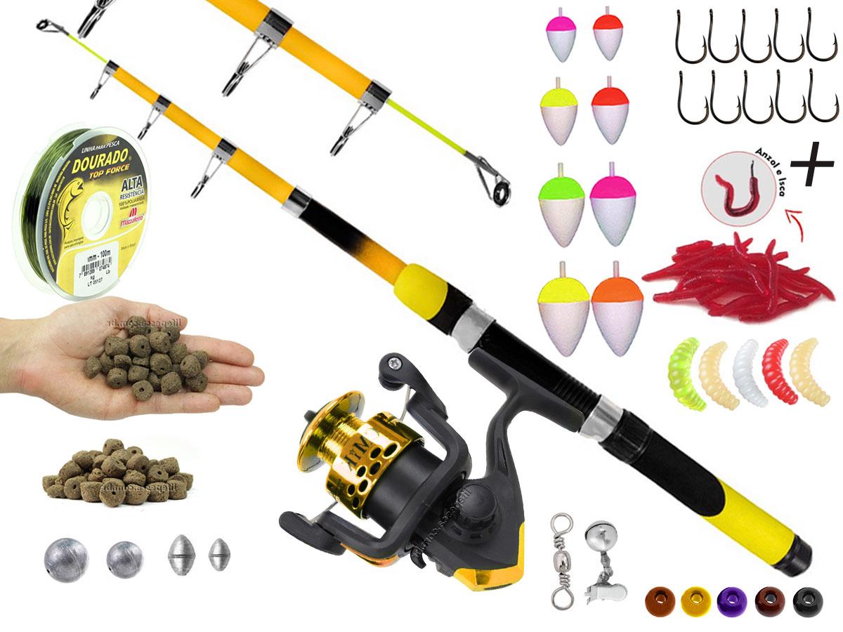 Kit Para Pescaria 1 Vara Telescópica 1,70m + 1 Molinete e Acessórios (Ref. 52)