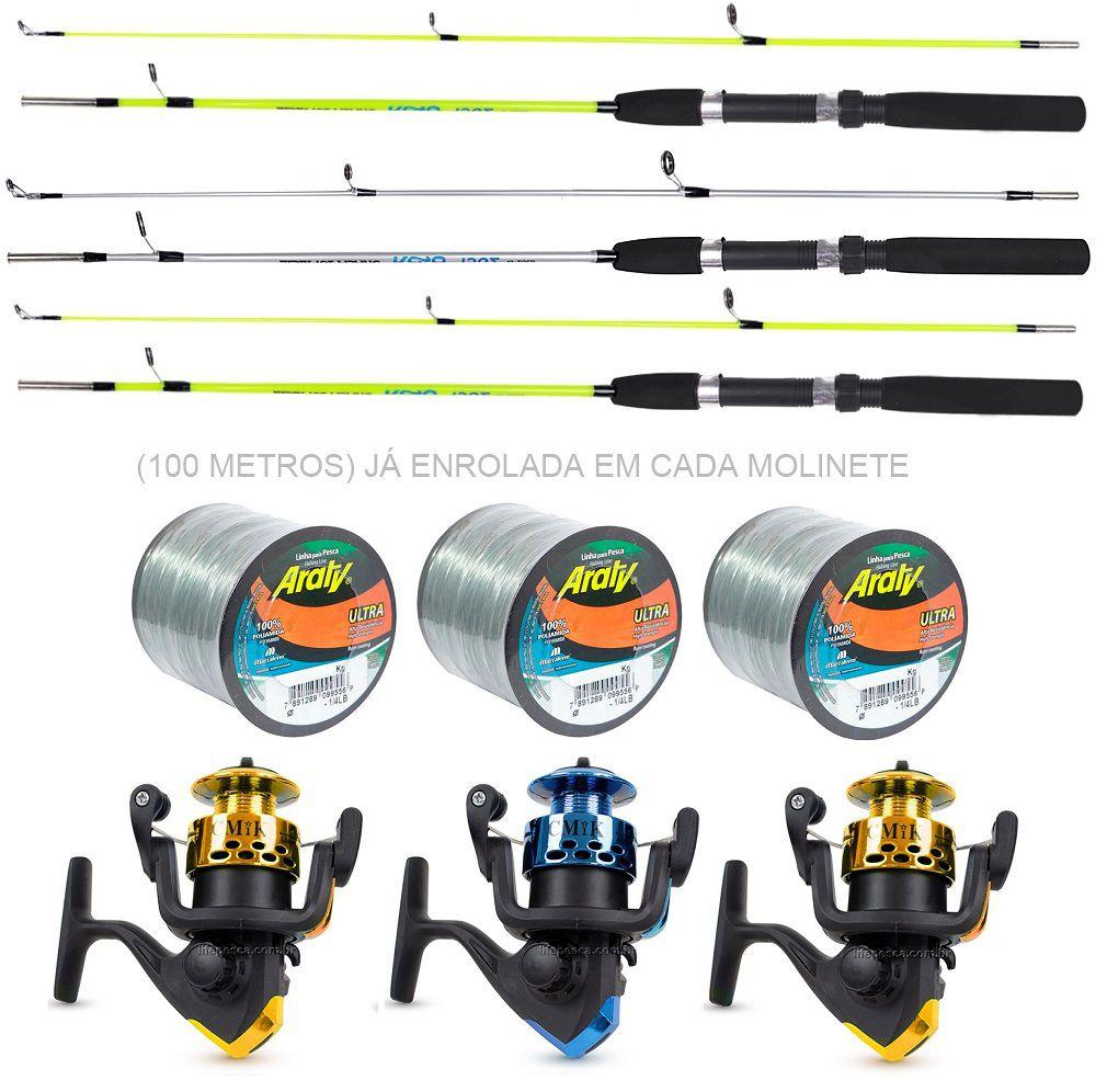 Kit para Pescaria C/ 3 Varas e 3 Molinetes C/ Linha (Ref. 08)