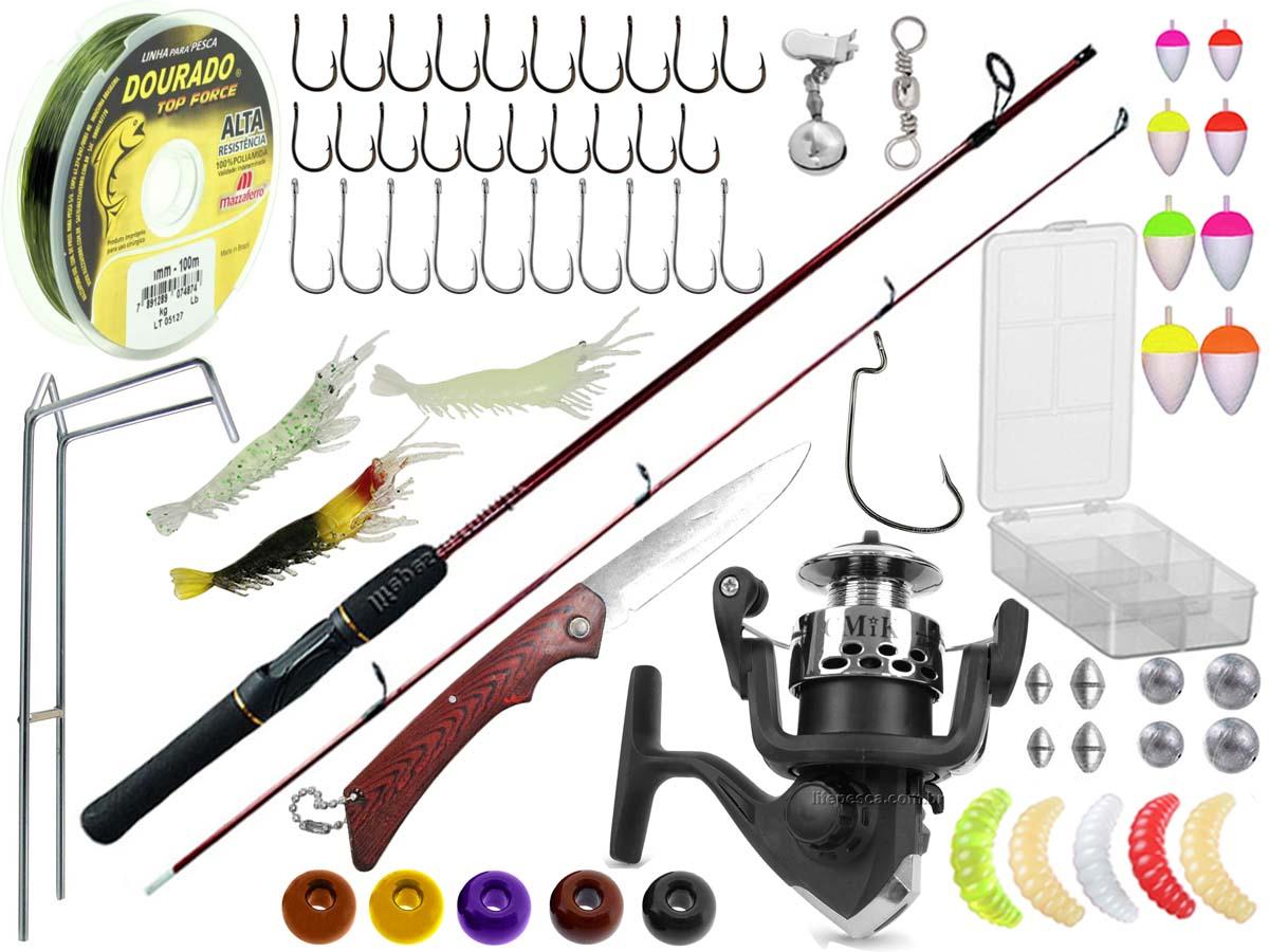 Kit Pesca 1 Vara Para Molinete 1,20m + 1 Molinete + Acessórios (Ref. 68)