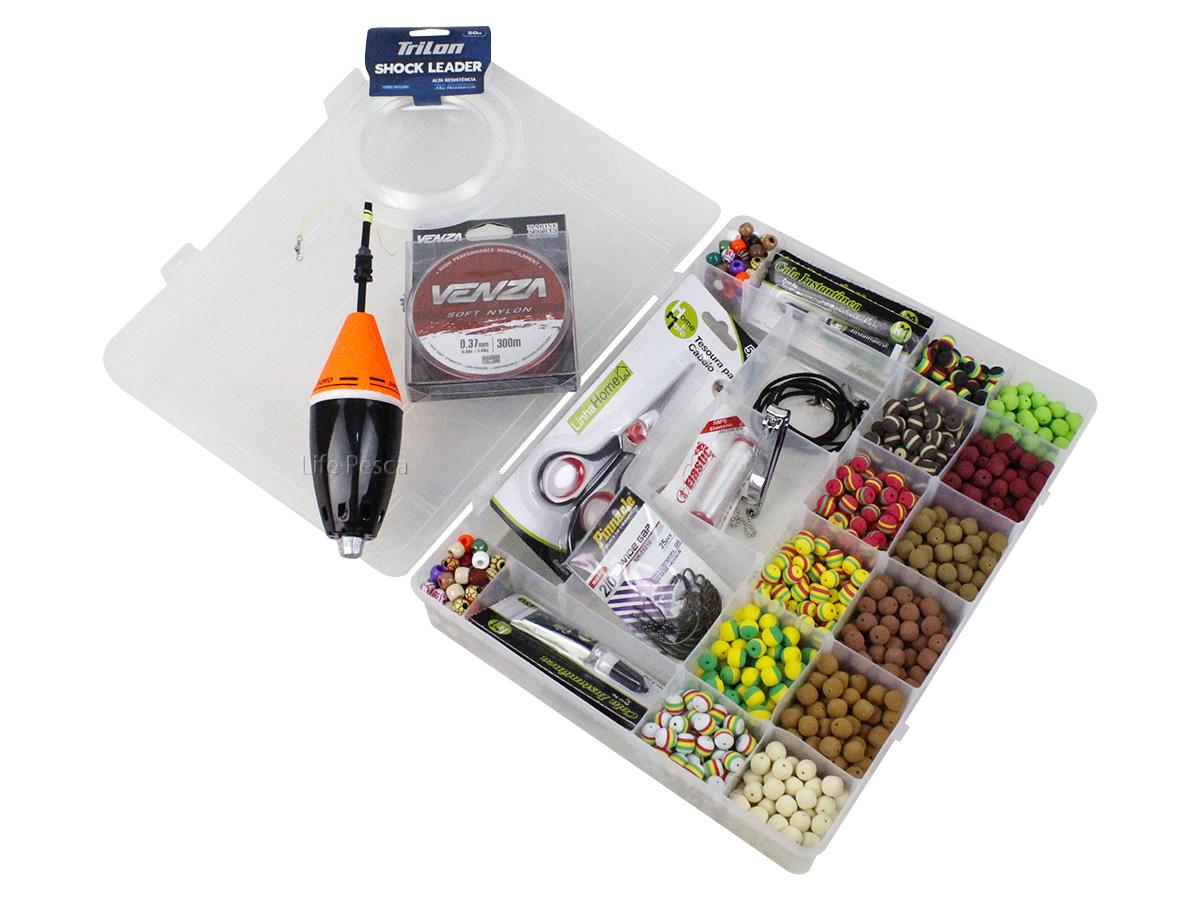Kit Pesca 600 Evas Formato Ração (12mm) + 200 Miçangas + Estojo G + Acessórios