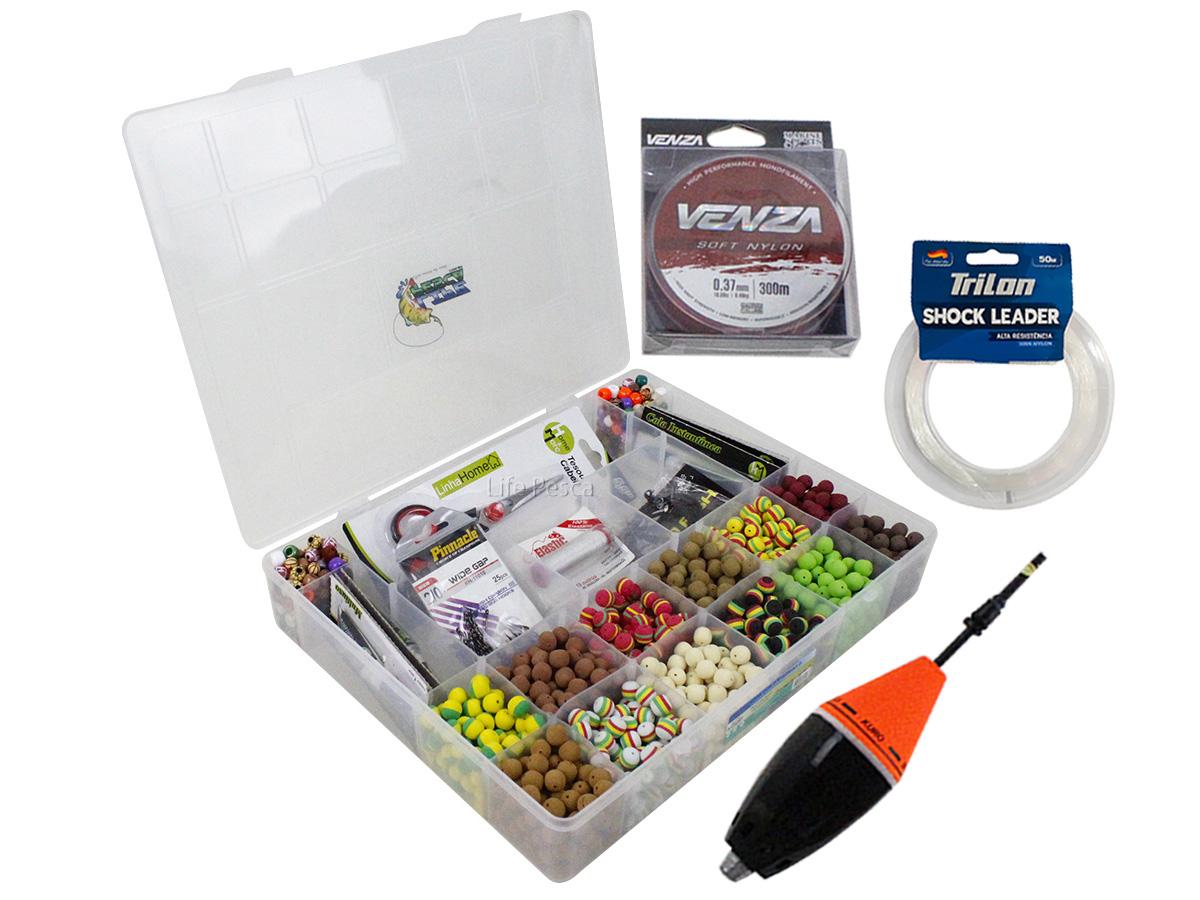 Kit Pesca 720 Evas Formato Ração (10mm) + 200 Miçangas + Estojo G + Acessórios