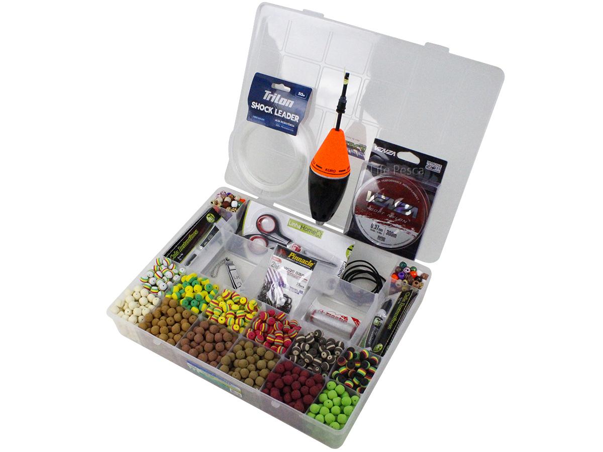 Kit Pesca 720 Evas Formato Ração (12mm) + 200 Miçangas + Estojo G + Acessórios