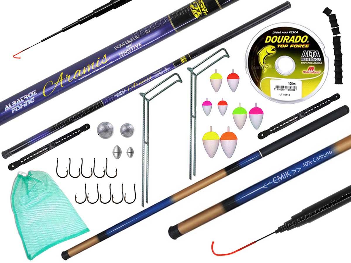 Kit Pesca Com 2 Varas Telescópicas (2,10m e 2,70m) + Acessórios (Ref. 130)