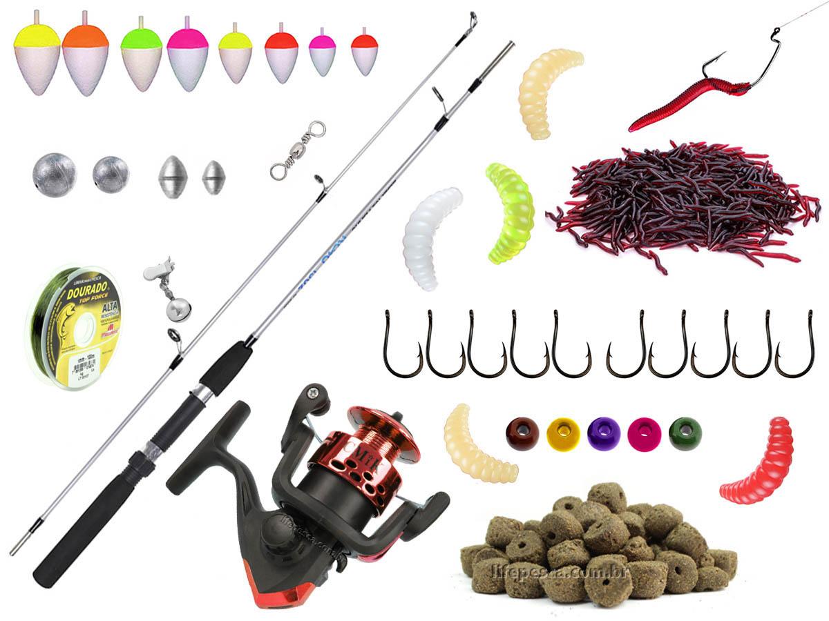 Kit Pesca Vara Para Molinete 1,50m + Molinete + Acessórios (Ref. 72)