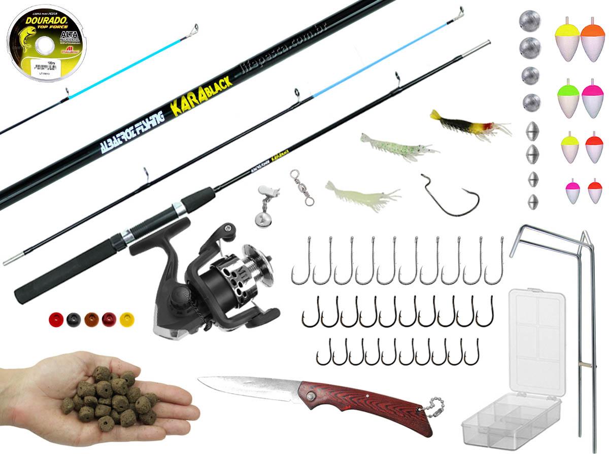 Kit Pesca Vara para Molinete 1,50m + Molinete + Estojo C/ Acessórios (Ref. 78)