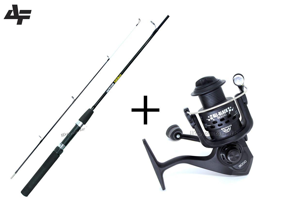 Kit Pesca Vara Kará Black 1,80m 2 Partes + Molinete Xingu All Black 5000 3 Rol