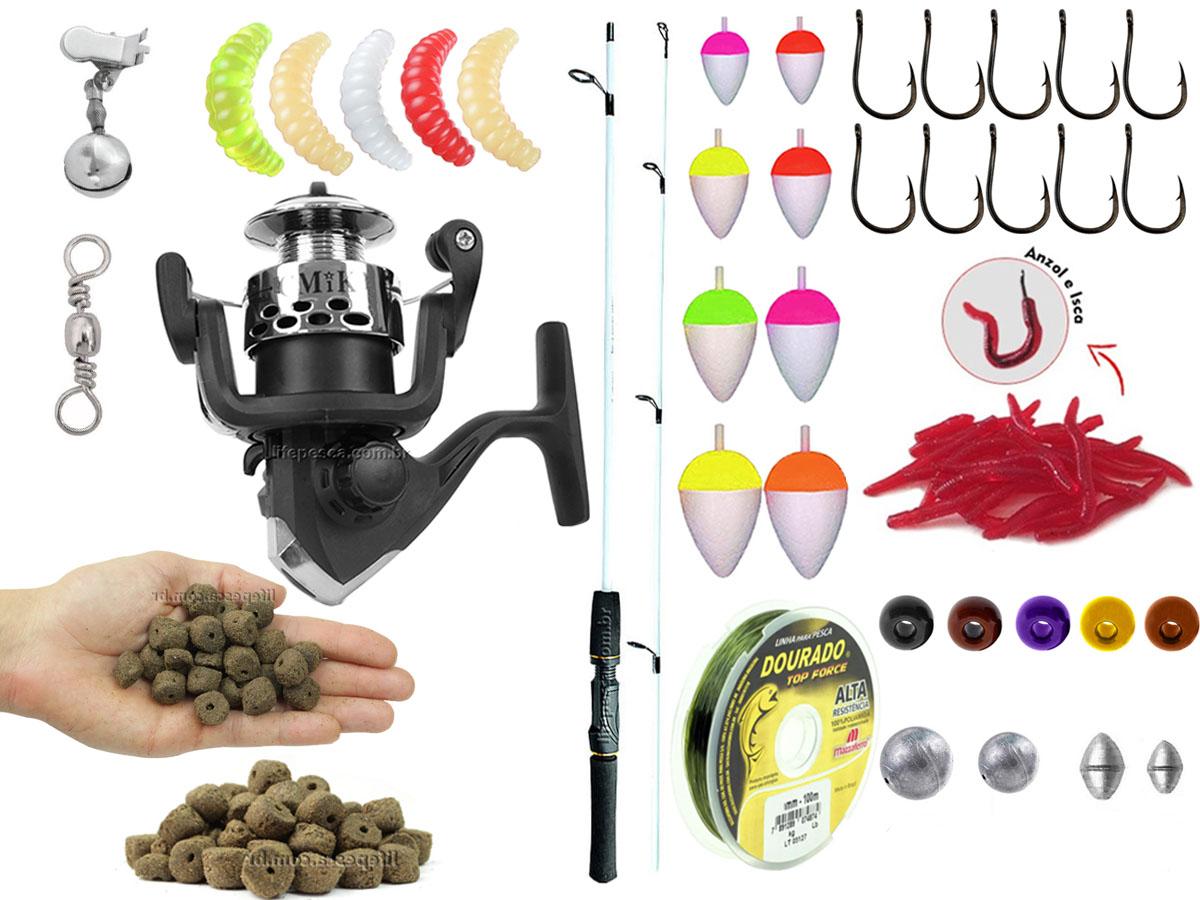 Kit Pescador 1 Vara Para Molinete 1,20m + 1 Molinetes + Acessórios (Ref. 62)