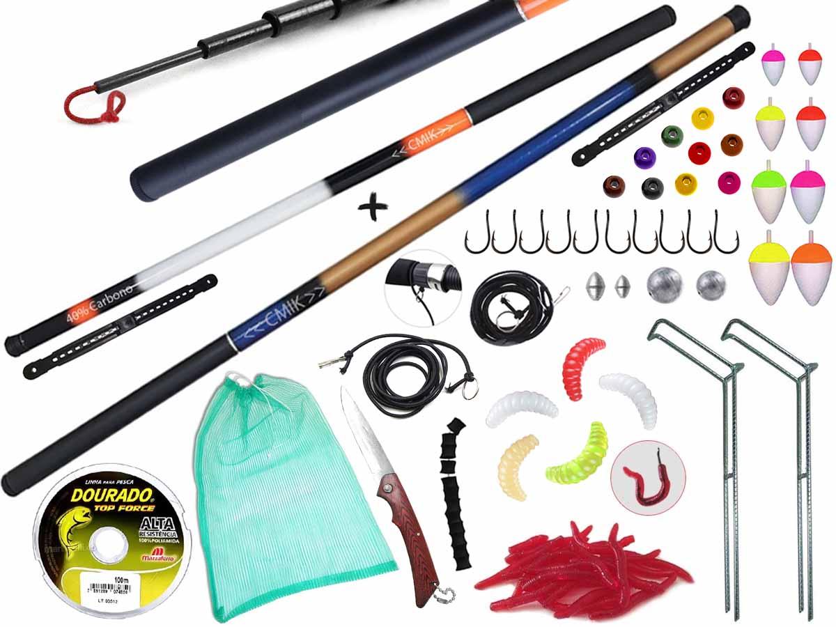 Kit Pescador Com 2 Varas Telescópicas 40% Carbono (2,70m e 3,00m) + Acessórios (Ref. 136)