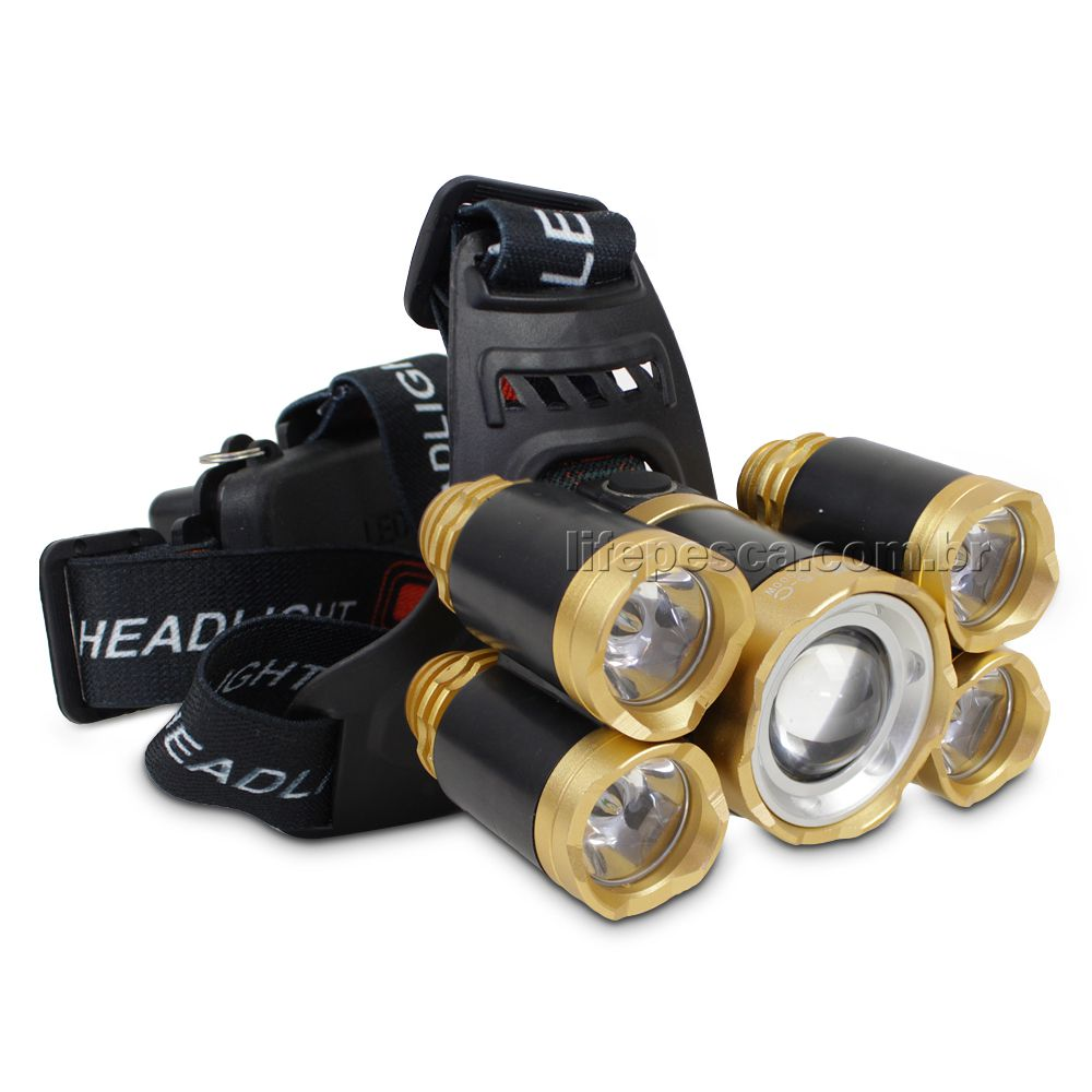 Lanterna de Cabeça C/ 5 LED T6 Cree Profissional Swat Tática