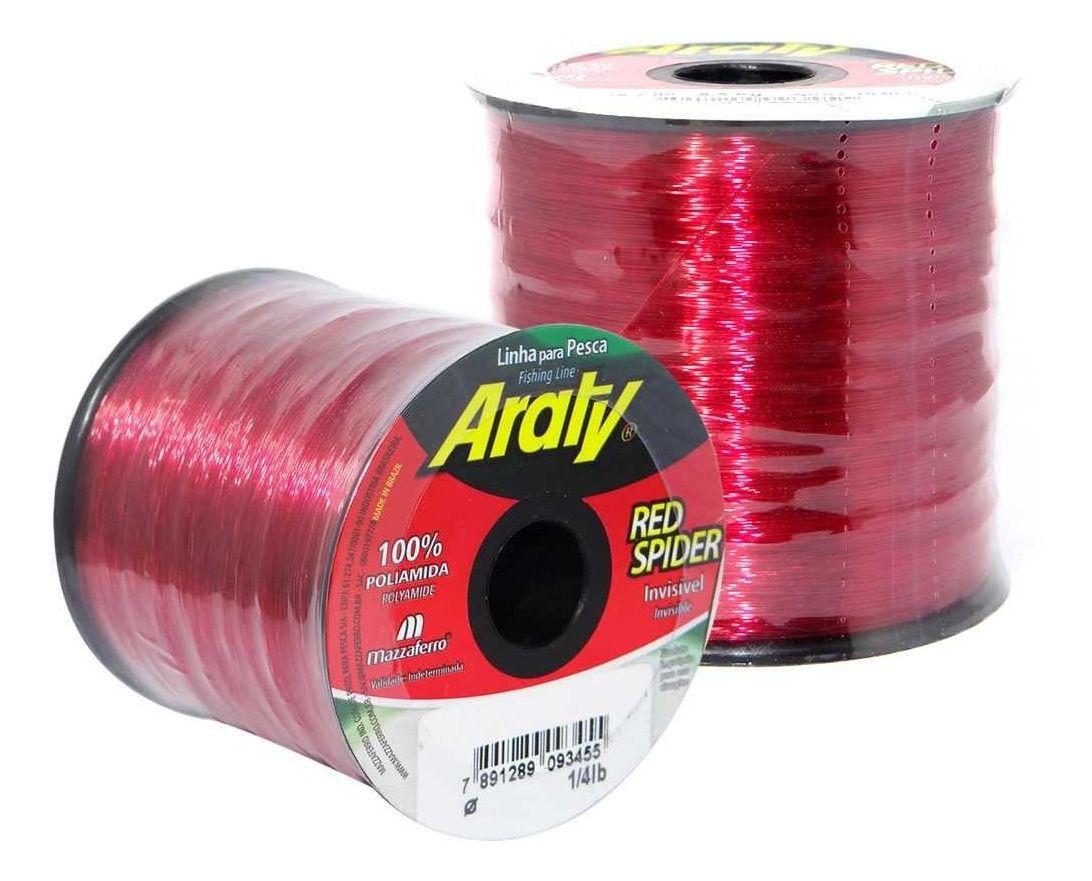 Linha de Monofilamento Araty Red Spider - Vários Tamanhos e Espessuras