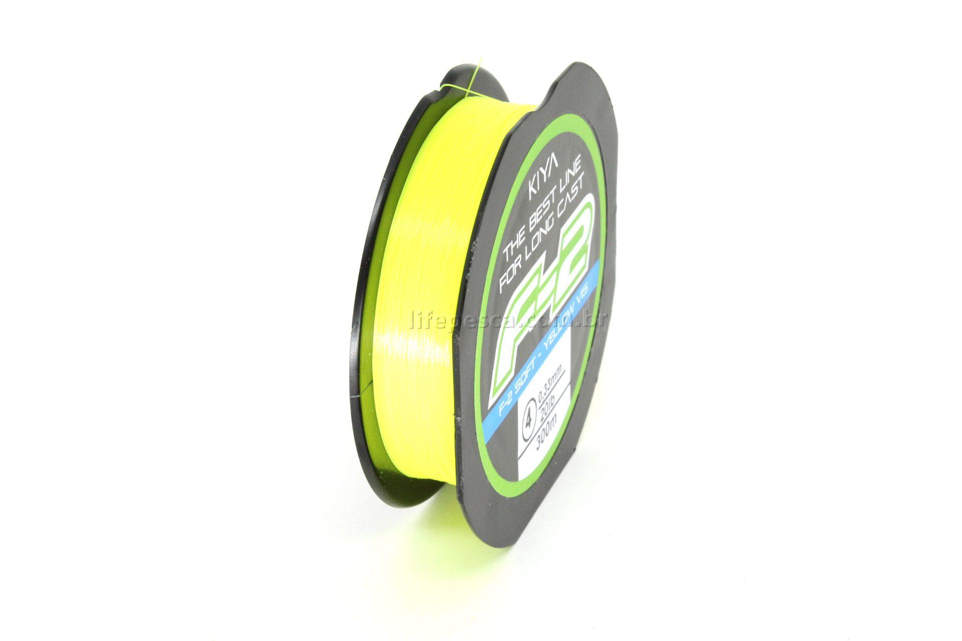 Linha Monofilamento Kiya F-2 Soft Yellow 0,52mm 40lb/18,20kg - 300 Metros  - Life Pesca - Sua loja de Pesca, Camping e Lazer