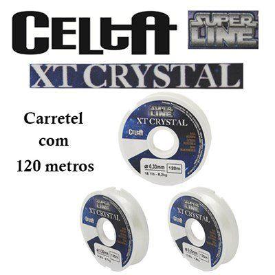 Linha Mono Celta XT Crystal e Titanium 0,33mm 18,1lbs/8,2kg - 120 Metros  - Life Pesca - Sua loja de Pesca, Camping e Lazer