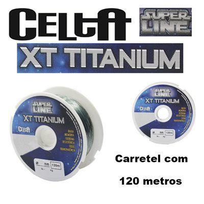Linha Mono Celta XT Crystal e Titanium 0,35mm 19,2lbs/8,7kg - 120 Metros  - Life Pesca - Sua loja de Pesca, Camping e Lazer