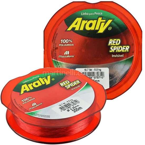 Linha Monofilamento Araty Red Spider 0,20mm - 300 Metros