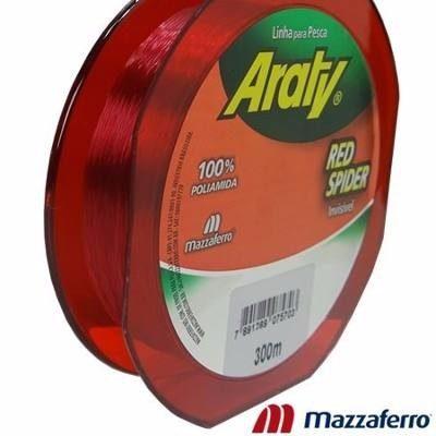 Linha Monofilamento Araty Red Spider 0,25mm - 300 Metros  - Life Pesca - Sua loja de Pesca, Camping e Lazer