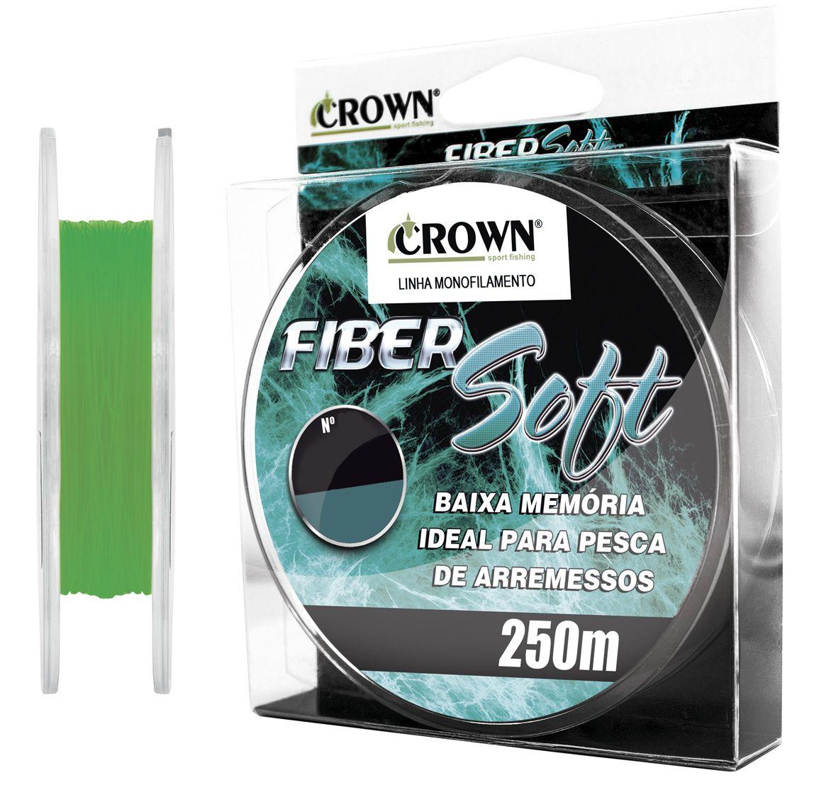 Linha Monofilamento Crown Fiber Soft 0,52mm 52lb/23,55kg - 250 Metros   - Life Pesca - Sua loja de Pesca, Camping e Lazer