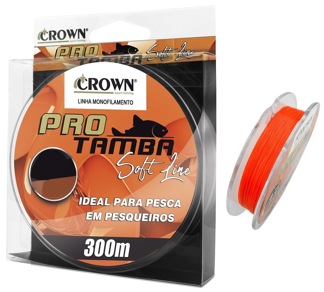 Linha Monofilamento Crown Pro Tamba Soft Orange 0,37mm 27lb/12,3kg - 300 Metros