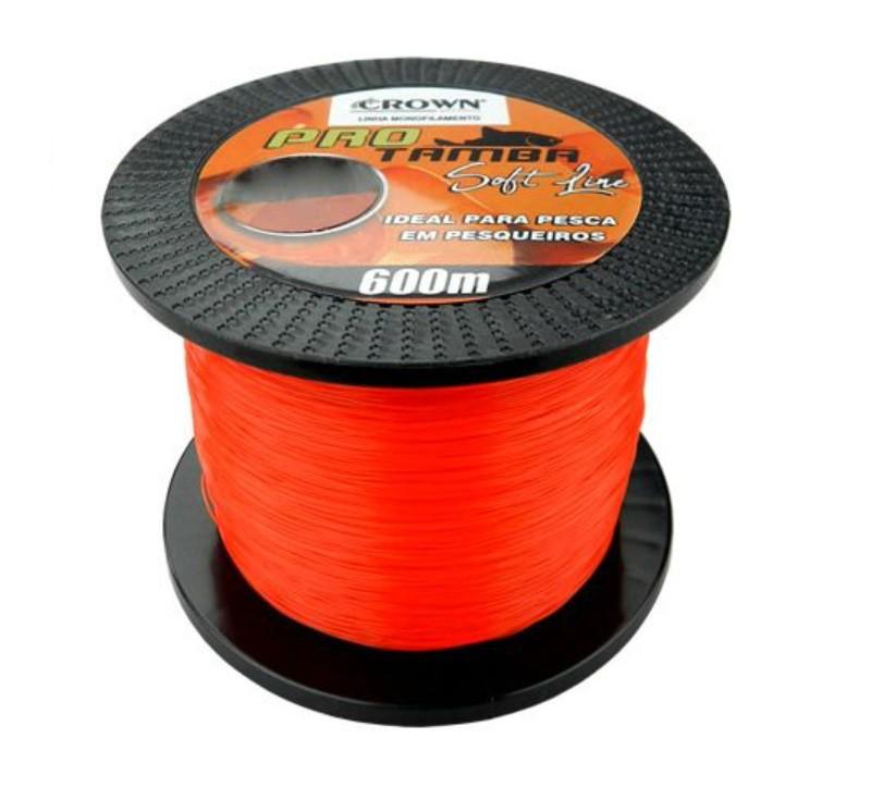 Linha Monofilamento Crown Pro Tamba Soft Orange 0,37mm 27lb/12,3kg - 600 Metros