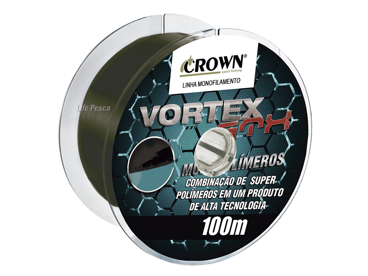 Linha Monofilamento Crown Vortex GTX 0.28mm 17lb/7,70Kg - 100 Metros
