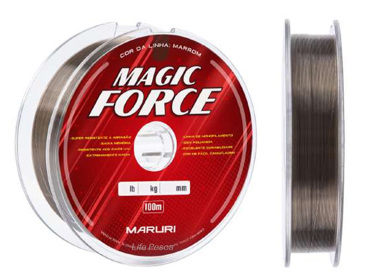 Linha Monofilamento Maruri Magic Force 0,21mm 9,0lbs/4,10kg - 100 Metros