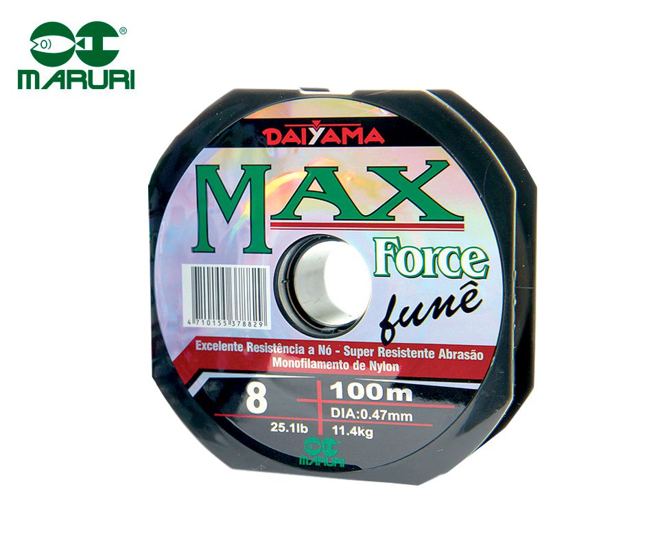 Linha Monofilamento Maruri Max Force Fumê 0,47mm 25,1lbs/11,4kg - 100 Metros  - Life Pesca - Sua loja de Pesca, Camping e Lazer