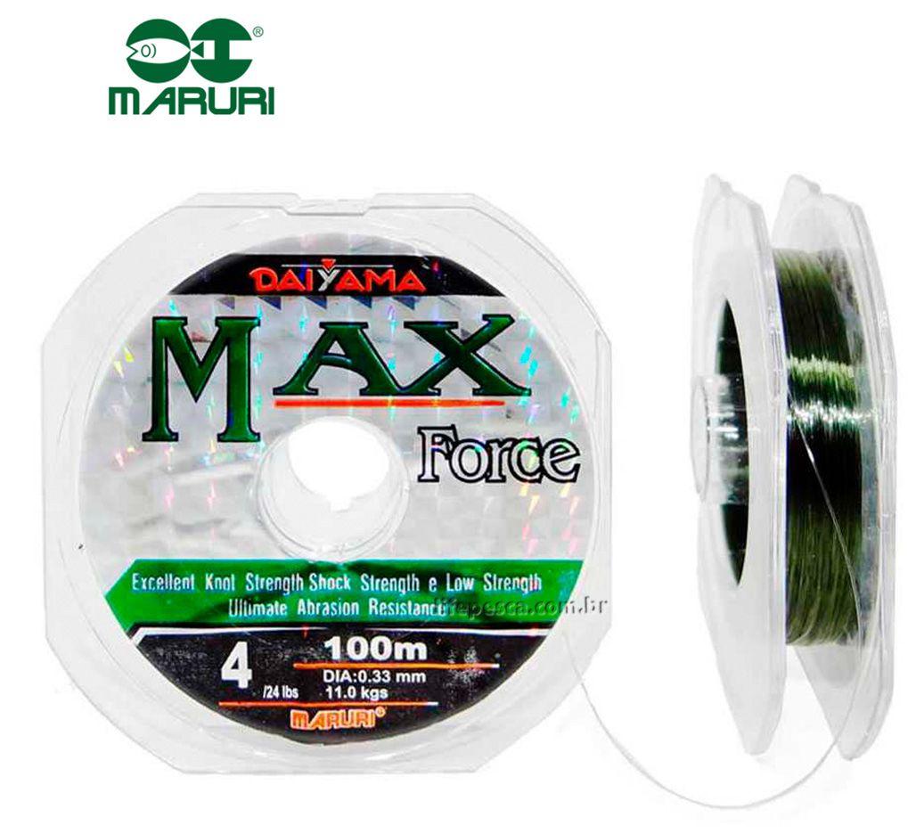 Linha Monofilamento Maruri Max Force Verde 0,66mm 99lbs/44,7kg - 100 Metros
