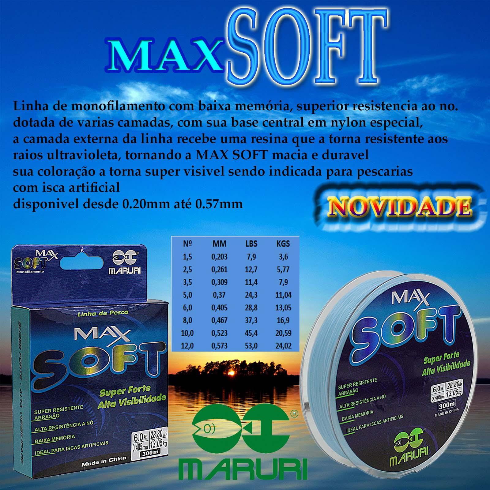 Linha Monofilamento Maruri Max Soft 0,46mm 37,30lb/16,90kg - 300 Metros  - Life Pesca - Sua loja de Pesca, Camping e Lazer
