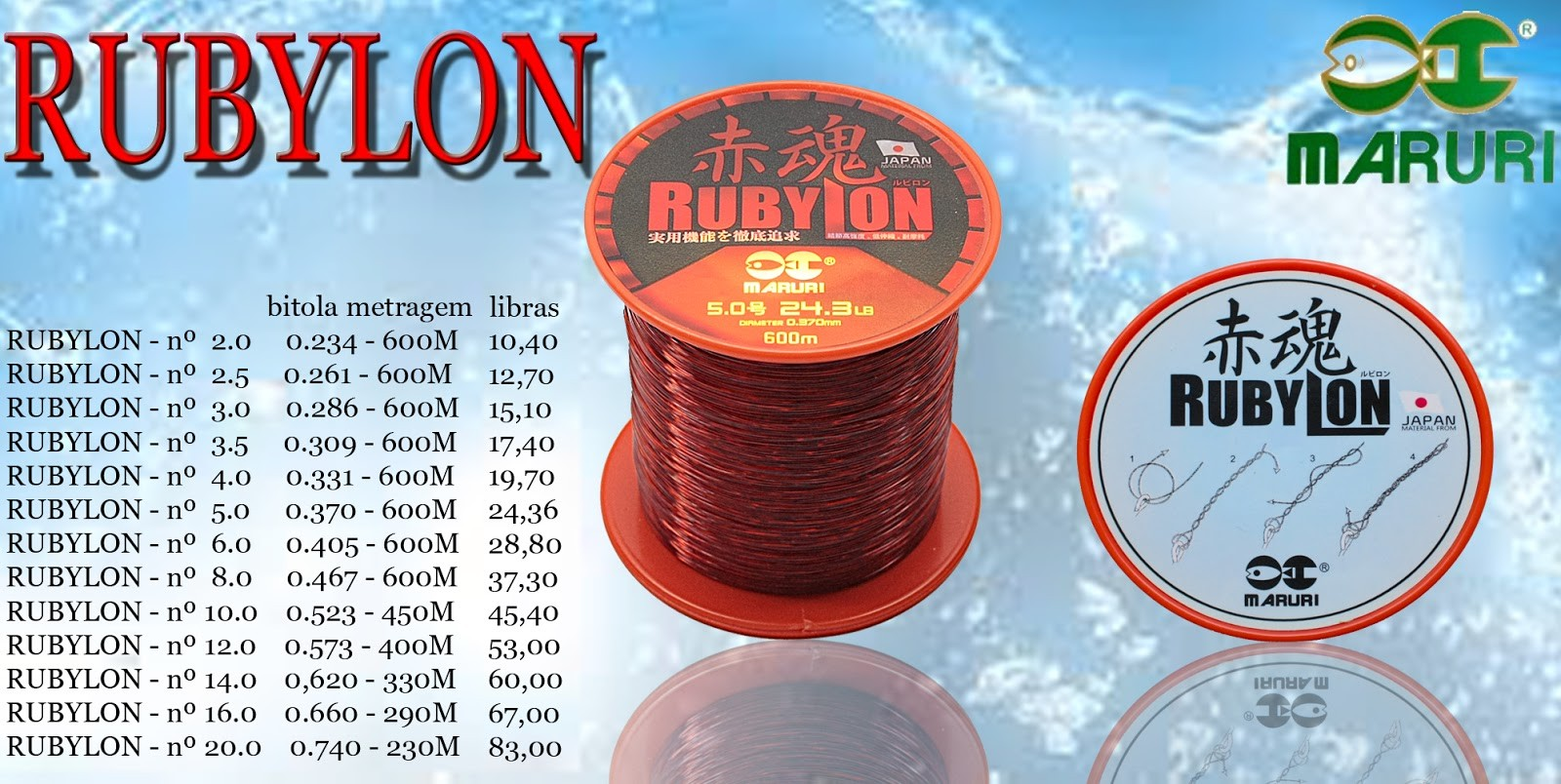 Linha Monofilamento Maruri Rubylon 0,46mm 37,3lbs/16,90kg - 600 Metros  - Life Pesca - Sua loja de Pesca, Camping e Lazer