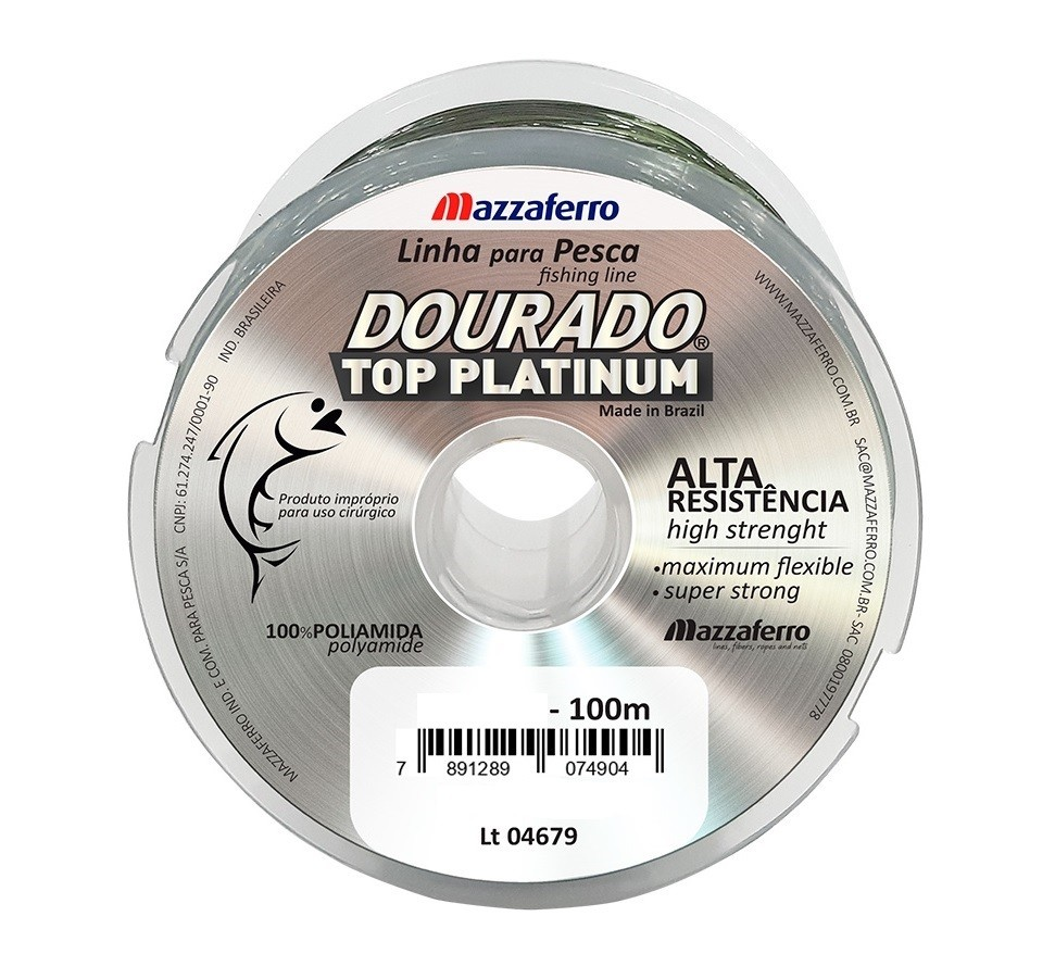 Linha Monofilamento Mazzaferro Dourado Top Platinum 0,20mm 7,7lb/3,5kg - 100 Metros