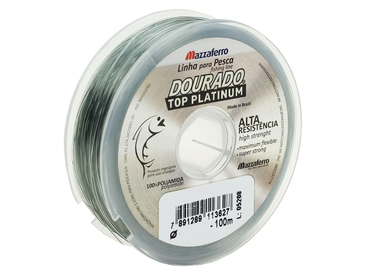 Linha Monofilamento Mazzaferro Dourado Top Platinum 0,25mm 10,6lb/4,8kg - 100 Metros  - Life Pesca - Sua loja de Pesca, Camping e Lazer