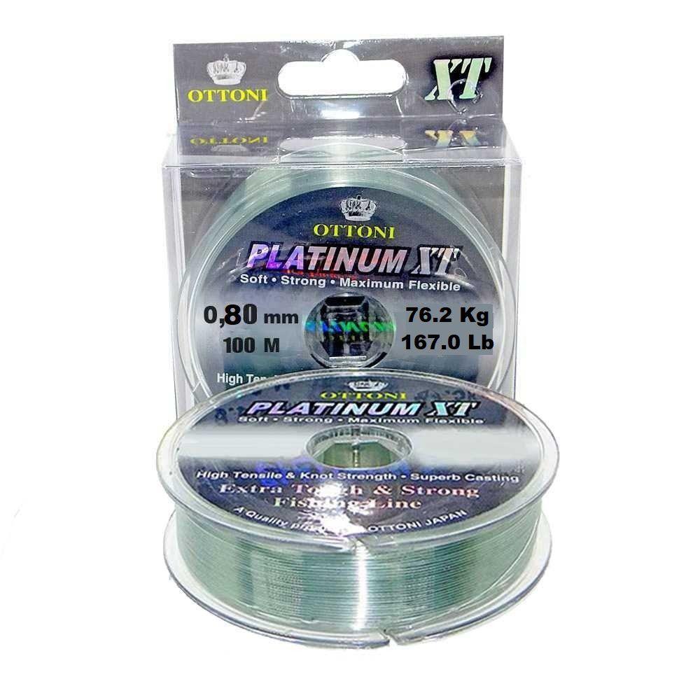 Linha Monofilamento Platinum XT 0,80mm 167,0lbs/76,2kg - 100 Metros