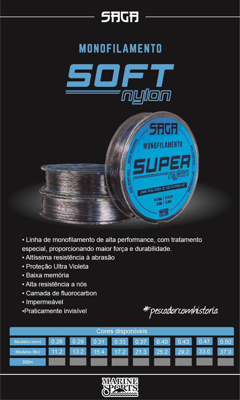 Linha Monofilamento Saga Super Nylon Smoke 0,33mm 17lbs/7,83kg - 300 Metros  - Life Pesca - Sua loja de Pesca, Camping e Lazer