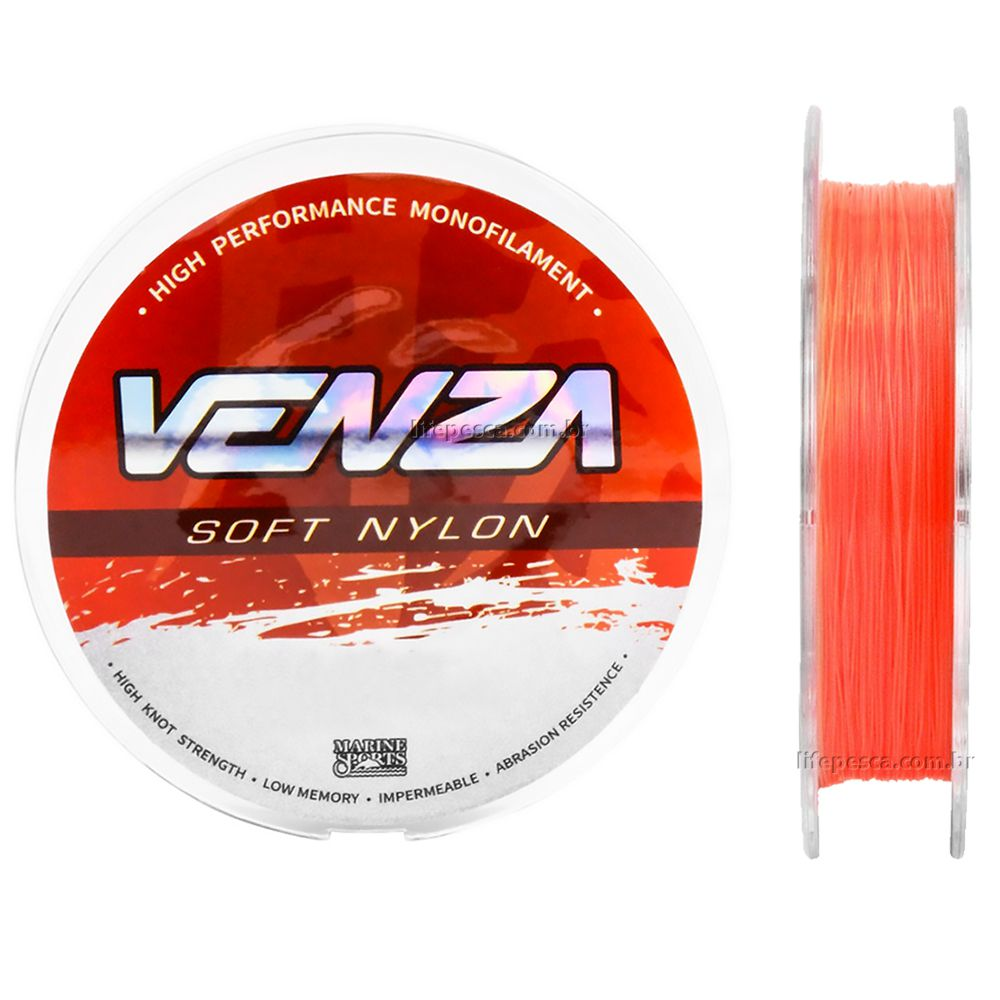 Linha Monofilamento Venza Soft Orange 0,37mm 18,6lbs/8,49kg - 300 Metros