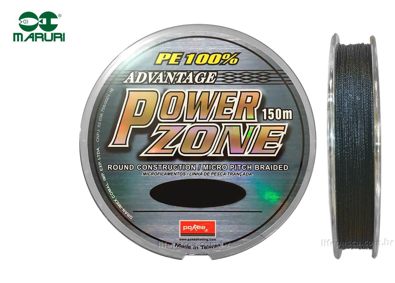 Linha Multifilamento Power Zone 4X Maruri - 0,14mm 18lbs/8,3kg - 150 Metros  - Life Pesca - Sua loja de Pesca, Camping e Lazer