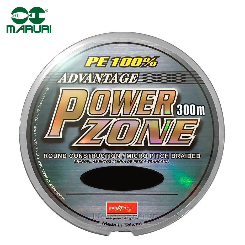 Linha Multifilamento Power Zone 4X Maruri - 0,34mm 65lbs/29,5kg - 300 Metros  - Life Pesca - Sua loja de Pesca, Camping e Lazer