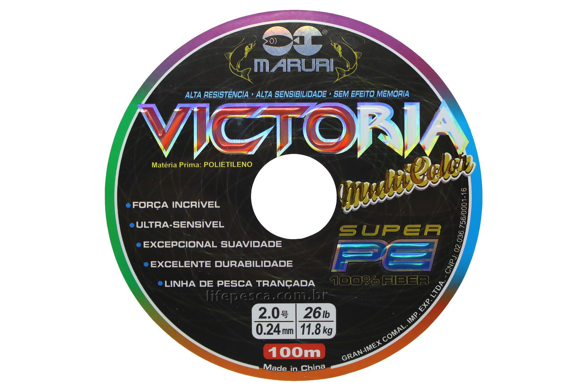 Linha Multifilamento Maruri Victoria 8x Colorida 0,40mm 55lb/25,0kg - 100 Metros  - Life Pesca - Sua loja de Pesca, Camping e Lazer