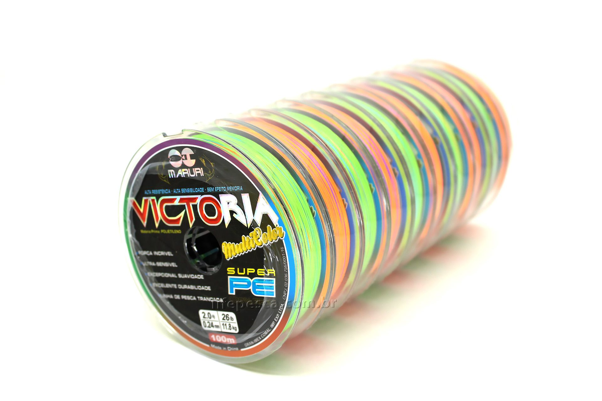 Linha Multifilamento Maruri Victoria 8x Colorida 0,50mm 76lb/34,5kg - 100 Metros