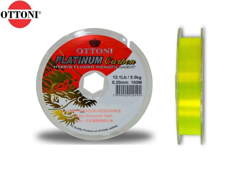 Linha Monofilamento Platinum Carbon Yellow 0,60mm 96,0lbs/43,5kg - 100 Metros