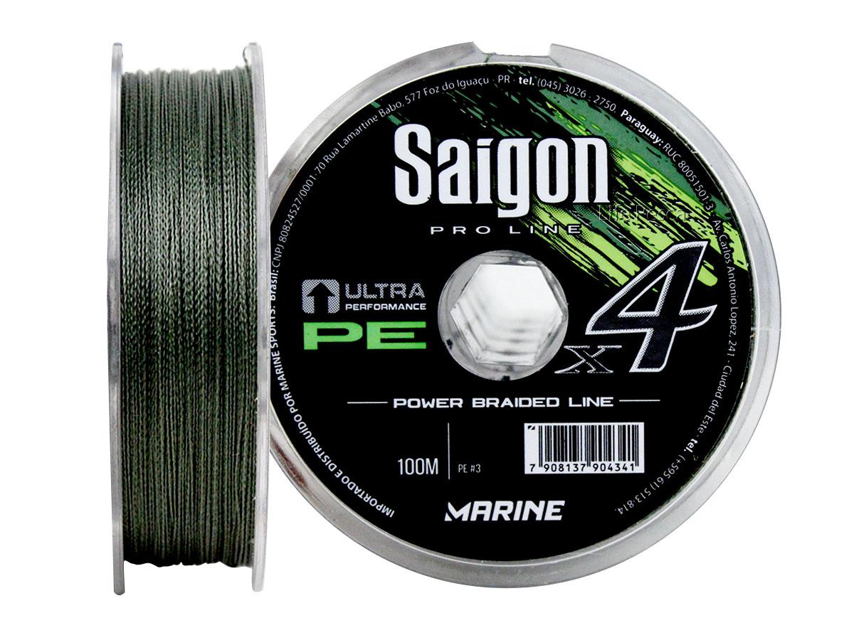 Linha Saigon Multifilamento x4 Verde 0,37mm 55Lbs/25kg - 100 Metros