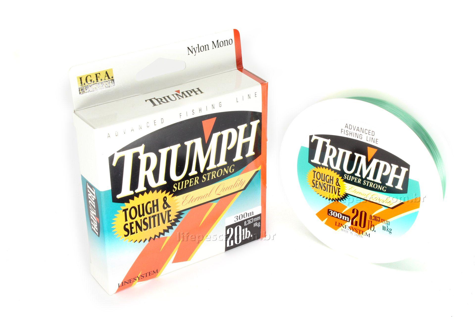 Linha Triumph Mono Super Strong T&S 0,36mm 20lb/10,0kg - 300 Metros  - Life Pesca - Sua loja de Pesca, Camping e Lazer