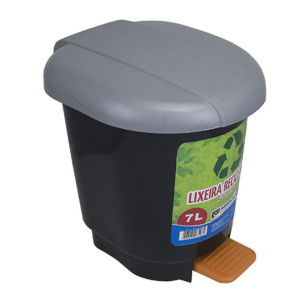 Lixeira Cesto Com Pedal Plástico 7 Litros - Arqplast